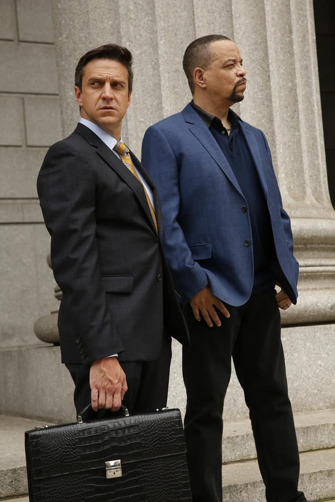 "LAW & ORDER: SPECIAL VICTIMS UNIT -- ""Gone Fishin'"" Episode 1901 -- Pictured: Raul Esparza as A.D.A Rafael Barba, Ice T as Detective Odafin ""Fin"" Tutuola -- (Photo by: Will Hart/NBC)"