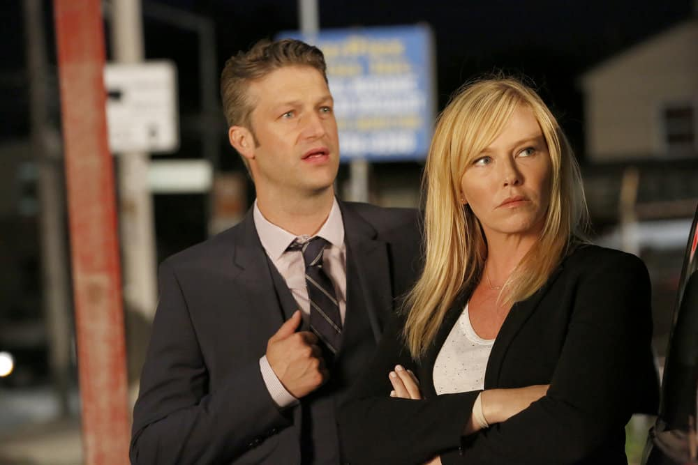 "LAW & ORDER: SPECIAL VICTIMS UNIT -- ""Gone Fishin'"" Episode 1901 -- Pictured: (l-r) Peter Scanavino as Dominick ""Sonny"" Carisi, Kelli Giddish as Detective Amanda Rollins -- (Photo by: Will Hart/NBC)"