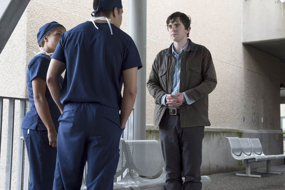 "THE GOOD DOCTOR - ""PILOT - Burnt Food"" - Dr. Shaun Murphy (Freddie Highmore), a young surgeon with autism and savant syndrome, relocates from a quiet country life to join the prestigious St. Bonaventure hospital's surgical unit. Alone in the world and unable to personally connect with those around him, his only advocate, Dr. Aaron Glassman (Richard Schiff), challenges the skepticism and prejudices of the hospital's board and staff when he brings him in to join the team. Shaun will need to work harder than he ever has before, as he navigates his new environment and relationships to prove to his colleagues that his extraordinary medical gifts will save lives. The highly anticipated series premiere of ""The Good Doctor"" airs MONDAY, SEPTEMBER 25 (10:01-11:00 p.m. EDT), on The ABC Television Network. (ABC/Liane Hentscher) ANTONIA THOMAS, NICHOLAS GONZALEZ, FREDDIE HIGHMORE"