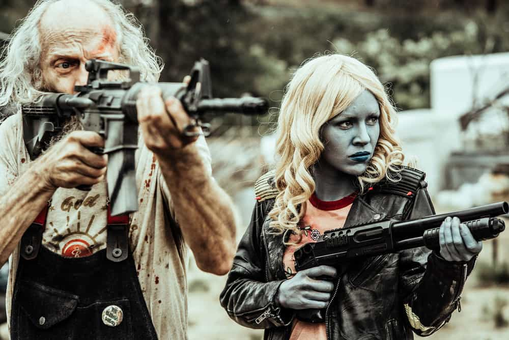 Z NATION -- Season:4 -- Pictured: (l-r) Russell Hodgkinson as Doc, Tara Holt as Lucy -- (Photo by: Daniel Sawyer Schaefer/Go2 Z 4/Syfy)