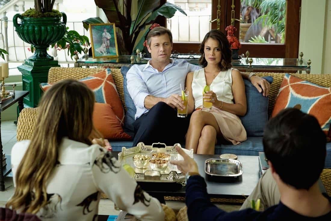 """Dynasty -- """"Pilot"""" Pictured (L-R): Grant Show as Blake and Nathalie Kelley as Cristal -- Photo: Jace Downs/The CW -- © 2017 The CW Network, LLC. All Rights Reserved."""