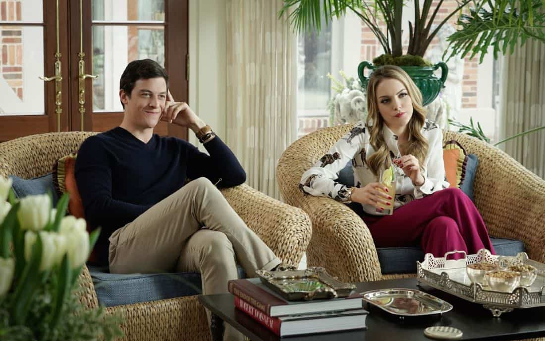 """Dynasty -- """"Pilot"""" Pictured (L-R): James Mackay as Steven and Elizabeth Gillies as Fallon -- Photo: Jace Downs/The CW -- © 2017 The CW Network, LLC. All Rights Reserved."""