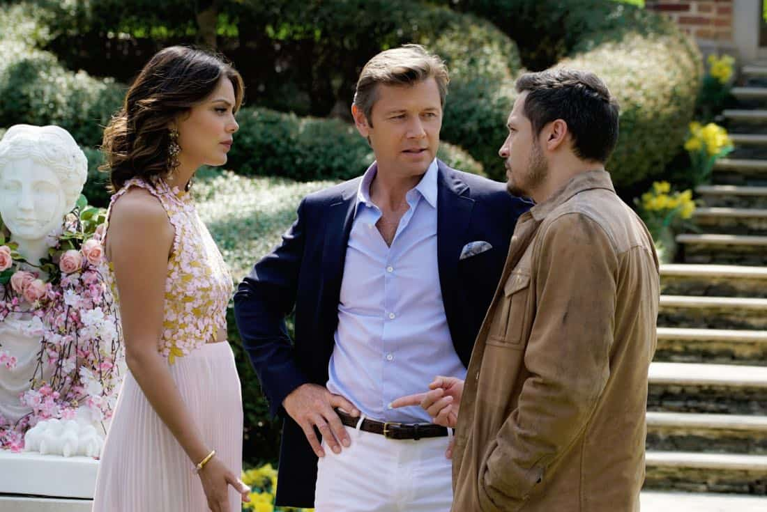 """Dynasty -- """"Pilot""""  -- Pictured (L-R): Nathalie Kelley as Cristal, Grant Show as Blake and Nick Wechsler as Matthew -- Photo: Jace Downs/The CW © 2017 The CW Network, LLC. All Rights Reserved."""