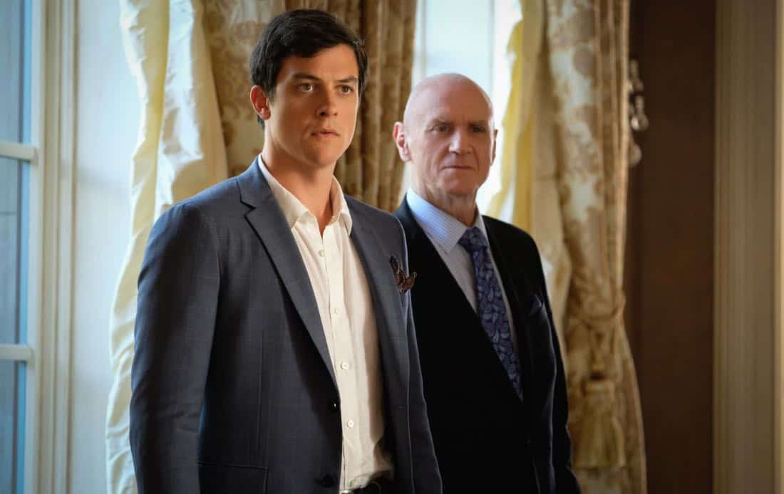"""Dynasty -- """"Pilot""""- Pictured (L-R): James Mackay as Steven and Alan Dale as Anders -- Photo: Mark Hill/The CW © 2017 The CW Network, LLC. All Rights Reserved."""