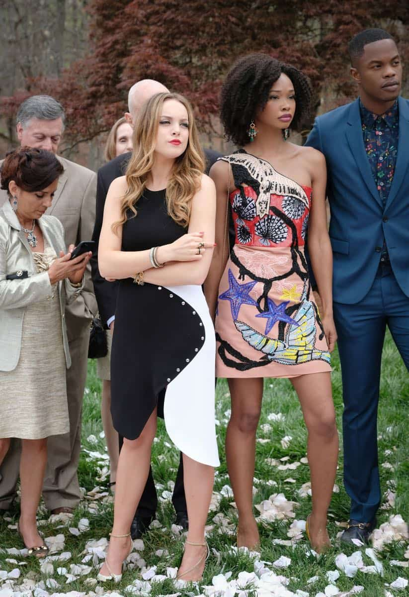 """Dynasty -- """"Pilot"""" -- Pictured (L-R): Elizabeth Gillies as Fallon, Wakeema Hollis as Monica and Sam Adegoke as Jeff -- Photo: Mark Hill/The CW © 2017 The CW Network, LLC. All Rights Reserved"""