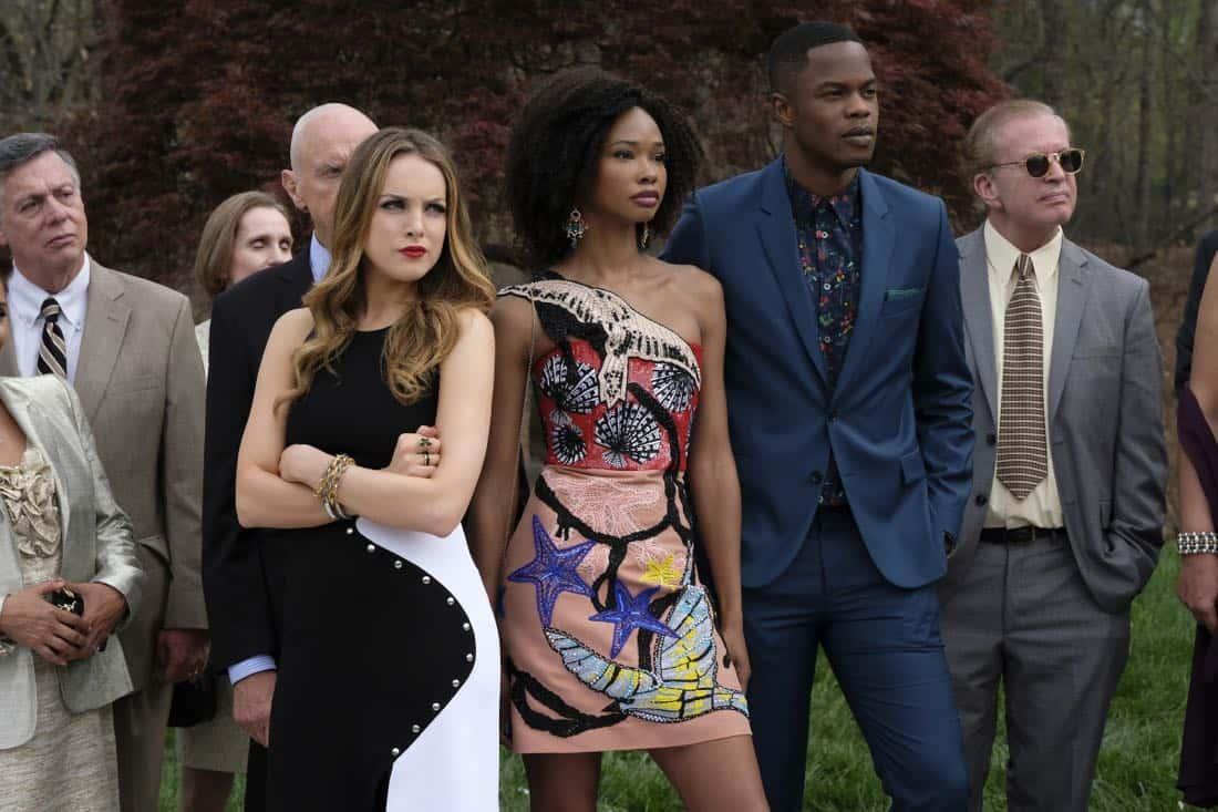"Dynasty -- ""Pilot"" -- Pictured (L-R): Elizabeth Gillies as Fallon, Wakeema Hollis as Monica Colby and Sam Adegoke as Jeff Colby -- Photo: Mark Hill/The CW © 2017 The CW Network, LLC. All Rights Reserved"