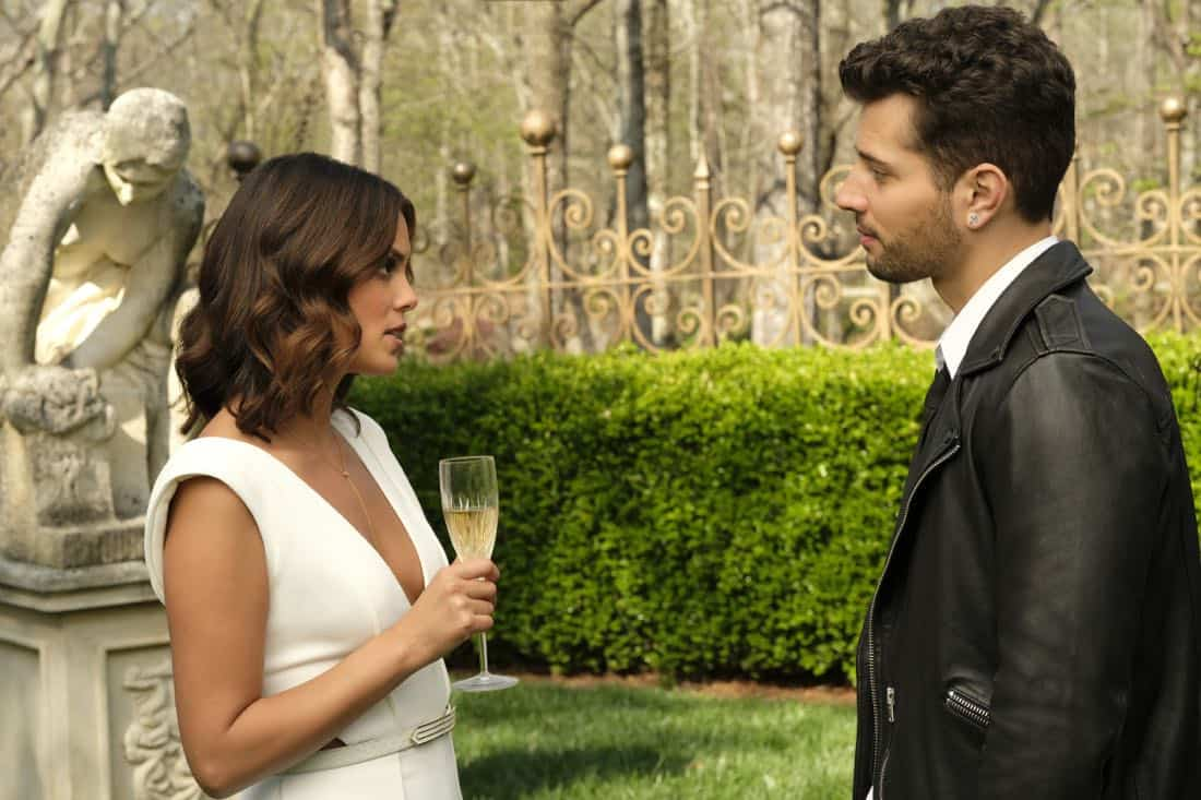 """Dynasty -- """"Pilot"""" -- Pictured (L-R): Nathalie Kelley as Cristal and Rafael De La Fuente as Sammy Jo -- Photo: Mark Hill/The CW © 2017 The CW Network, LLC. All Rights Reserved."""