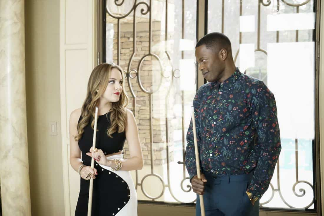 """Dynasty -- """"Pilot"""" -- Pictured (L-R): Elizabeth Gillies as Fallon and Sam Adegoke as Jeff -- Photo: Jace Downs/The CW © 2017 The CW Network, LLC. All Rights Reserved."""