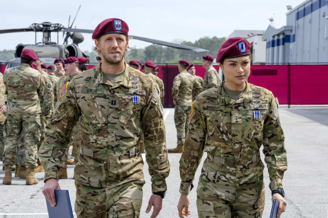 "Valor -- ""Pilot"" -- Pictured (L-R): Matt Barr as Gallo and Christina Ochoa as Nora -- Photo: Mark Hill/The CW -- © 2017 The CW Network, LLC. All Rights Reserved ."