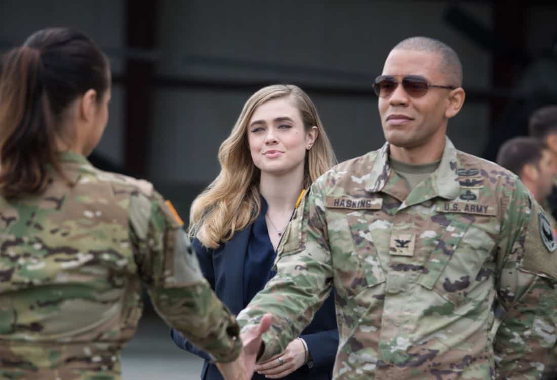 "Valor -- ""Pilot"" -- Pictured (L-R): Melissa Roxburgh as Thea and Nigel Thatch as Col. Robert Haskins -- Photo: Erika Doss/The CW -- © 2017 The CW Network, LLC. All Rights Reserved."