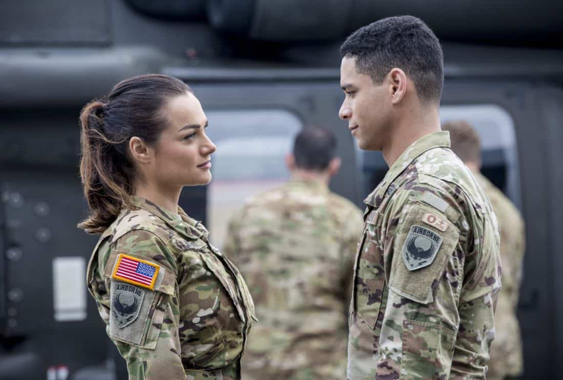 "Valor -- ""Pilot""-- Pictured (L-R): Christina Ochoa as Nora and Charlie Barnett as Ian -- Photo: Erika Doss/The CW © 2017 The CW Network, LLC. All Rights Reserved."
