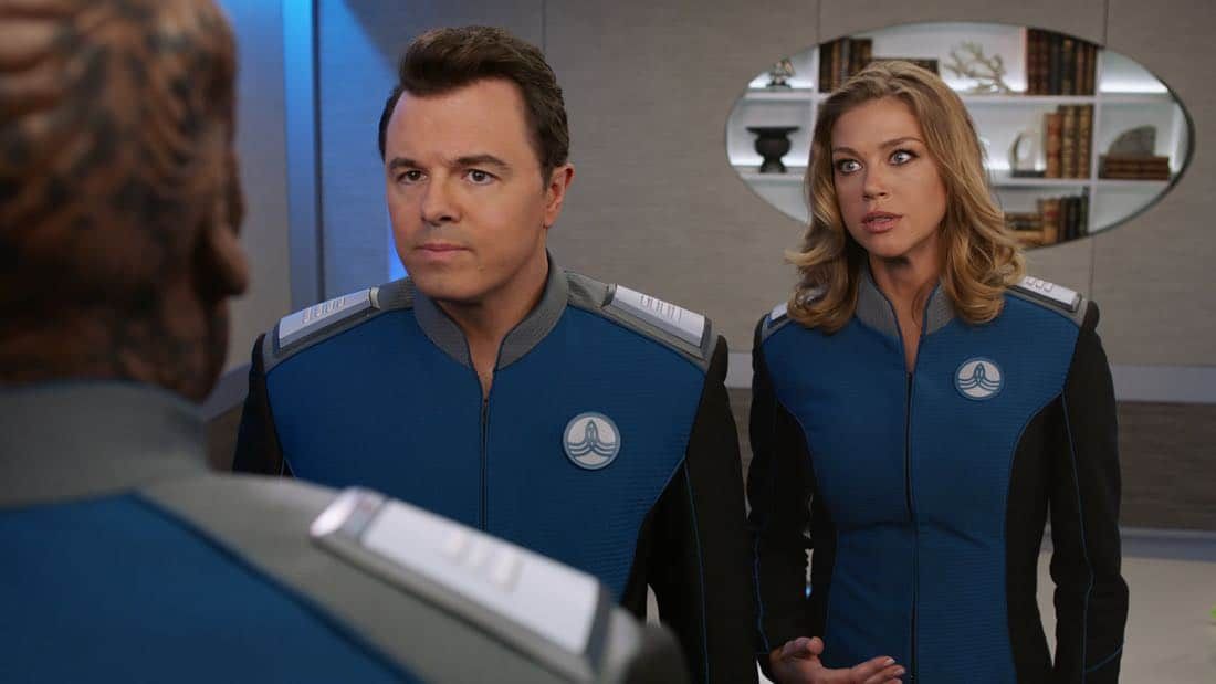 """THE ORVILLE: L-R: Seth MacFarlane and Adrianne Palicki in the """"About a Girl"""" time period premiere episode of THE ORVILLE airing Thursday, Sept. 21 (9:00-10:00 PM ET/PT) on FOX. ©2017 Fox Broadcasting Co. Cr: Michael Becker/FOX."""