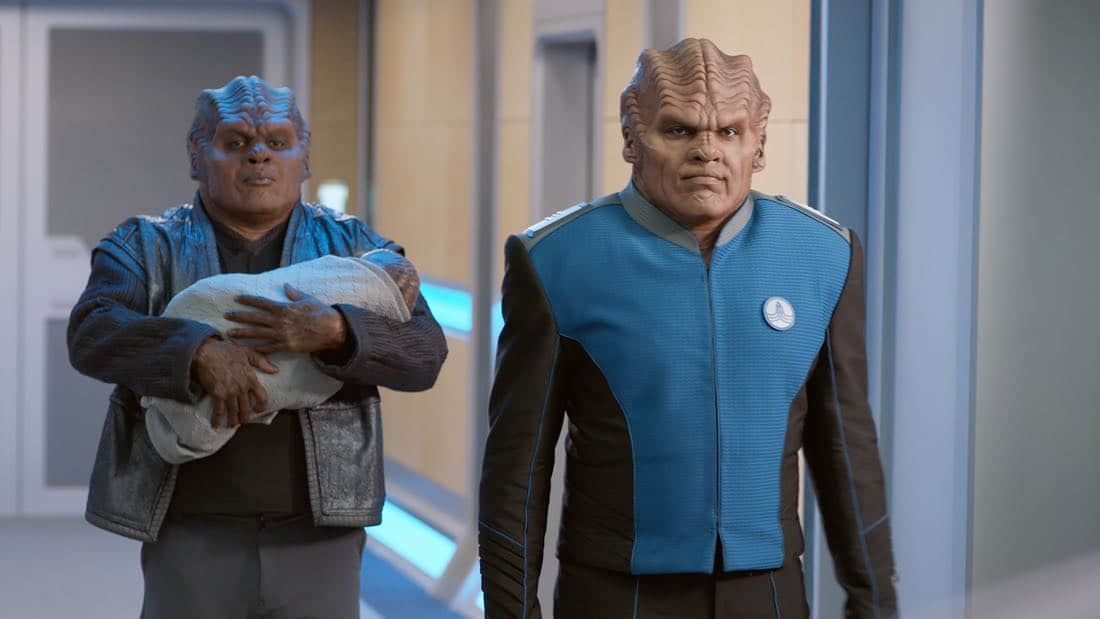 """THE ORVILLE: L-R: Chad L. Coleman and Peter Macon in the """"About a Girl"""" time period premiere episode of THE ORVILLE airing Thursday, Sept. 21 (9:00-10:00 PM ET/PT) on FOX. ©2017 Fox Broadcasting Co. Cr: Michael Becker/FOX."""