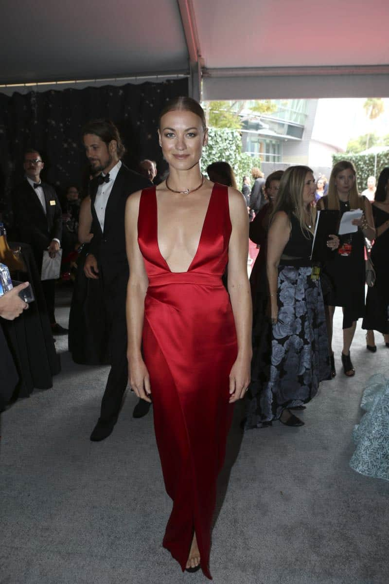 Yvonne Strahovski arrives on the red carpet at the 69TH PRIMETIME EMMY AWARDS, LIVE from the Microsoft Theater in Los Angeles Sunday, Sept. 17 (8:00-11:00 PM, live ET/5:00-8:00 PM live PT) on the CBS Television Network.   Photo: Mark Davis/CBS ©2017 CBS Broadcasting, Inc. All Rights Reserved.