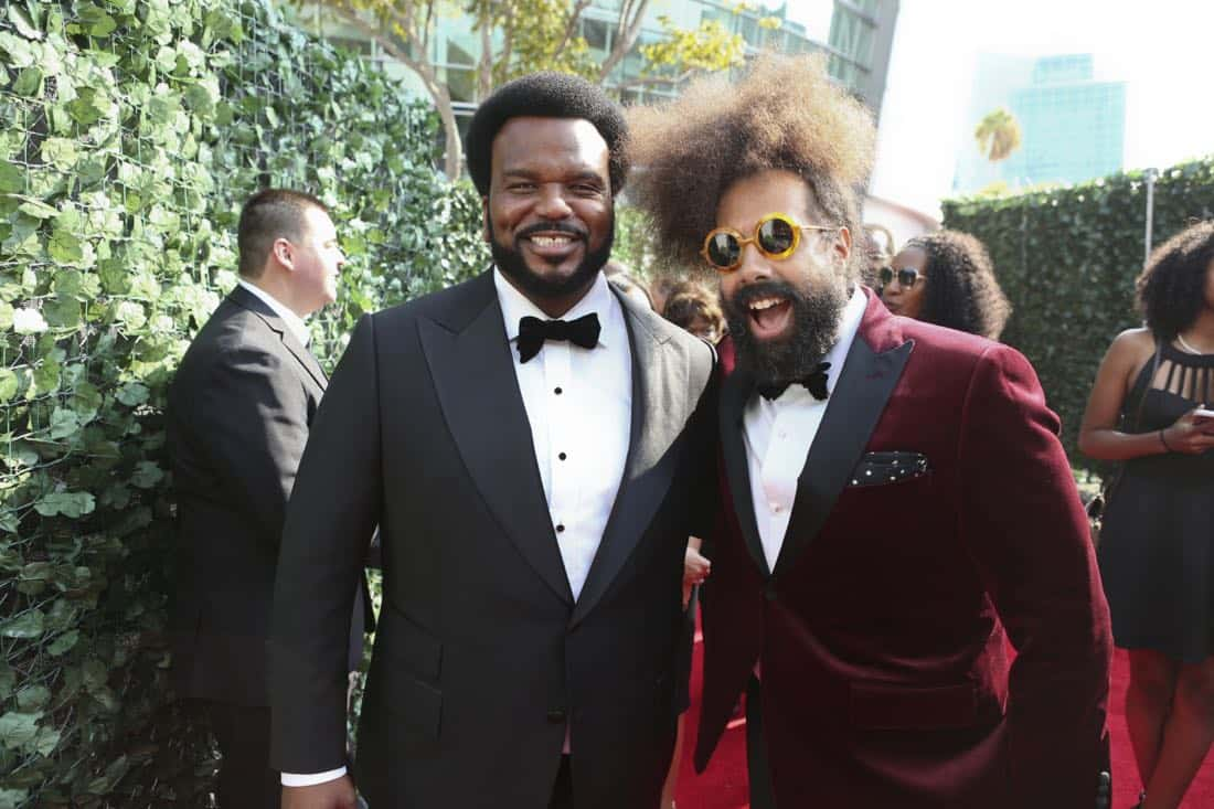 Craig Robinson and Reggie Watts arrive on the red carpet at the 69TH PRIMETIME EMMY AWARDS, LIVE from the Microsoft Theater in Los Angeles Sunday, Sept. 17 (8:00-11:00 PM, live ET/5:00-8:00 PM live PT) on the CBS Television Network.   Photo: Mark Davis/CBS ©2017 CBS Broadcasting, Inc. All Rights Reserved.