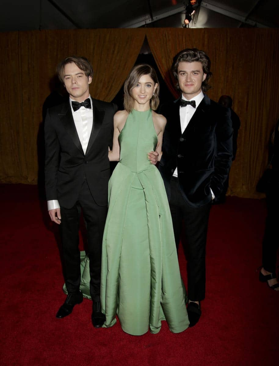 Charlie Heaton, Natalia Dyer, and Joe Keery on the Red Carpet at the 69TH PRIMETIME EMMY AWARDS, LIVE from the Microsoft Theater in Los Angeles Sunday, Sept. 17 (8:00-11:00 PM, live ET/5:00-8:00 PM live PT) on the CBS Television Network.   Photo: Francis Specker/CBS ©2017 CBS Broadcasting, Inc. All Rights Reserved.