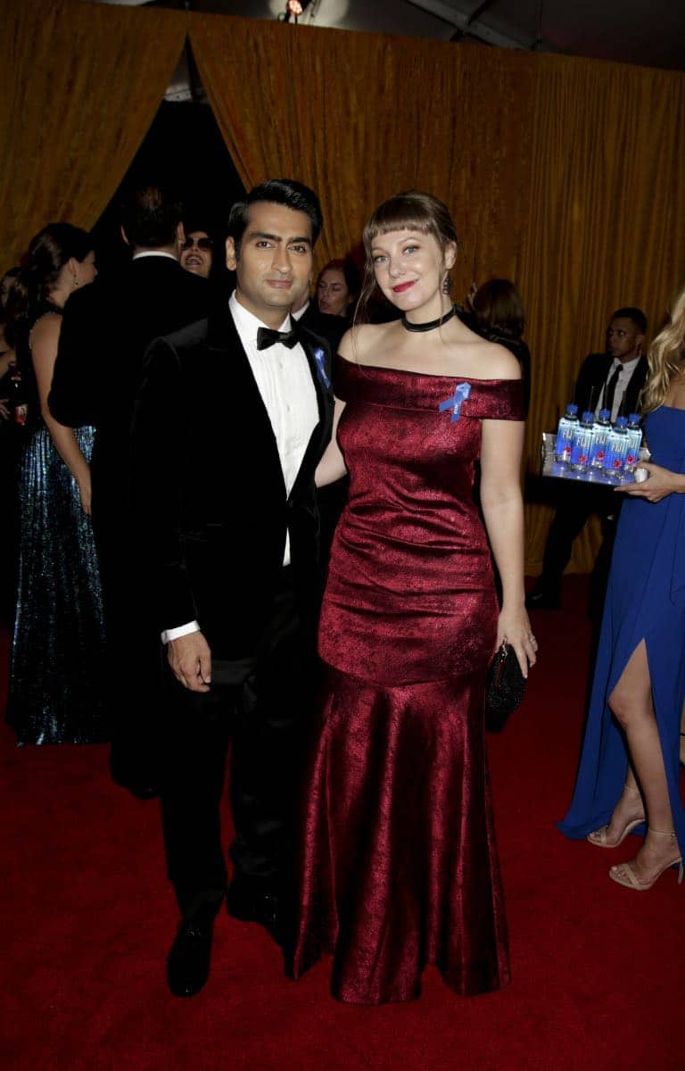 Kumail Nanjiani and Emily V. Gordon on the Red Carpet at the 69TH PRIMETIME EMMY AWARDS, LIVE from the Microsoft Theater in Los Angeles Sunday, Sept. 17 (8:00-11:00 PM, live ET/5:00-8:00 PM live PT) on the CBS Television Network.   Photo: Francis Specker/CBS ©2017 CBS Broadcasting, Inc. All Rights Reserved.