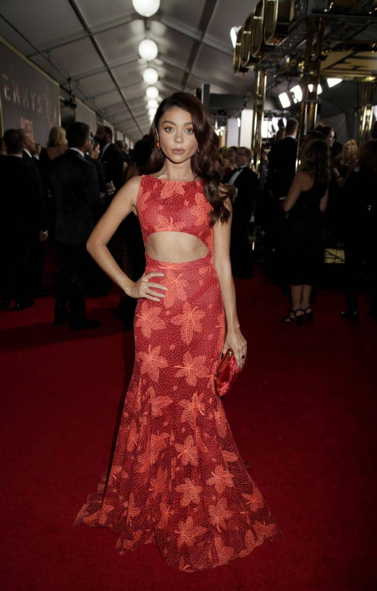 Sarah Hyland on the Red Carpet at the 69TH PRIMETIME EMMY AWARDS, LIVE from the Microsoft Theater in Los Angeles Sunday, Sept. 17 (8:00-11:00 PM, live ET/5:00-8:00 PM live PT) on the CBS Television Network.   Photo: Francis Specker/CBS ©2017 CBS Broadcasting, Inc. All Rights Reserved.