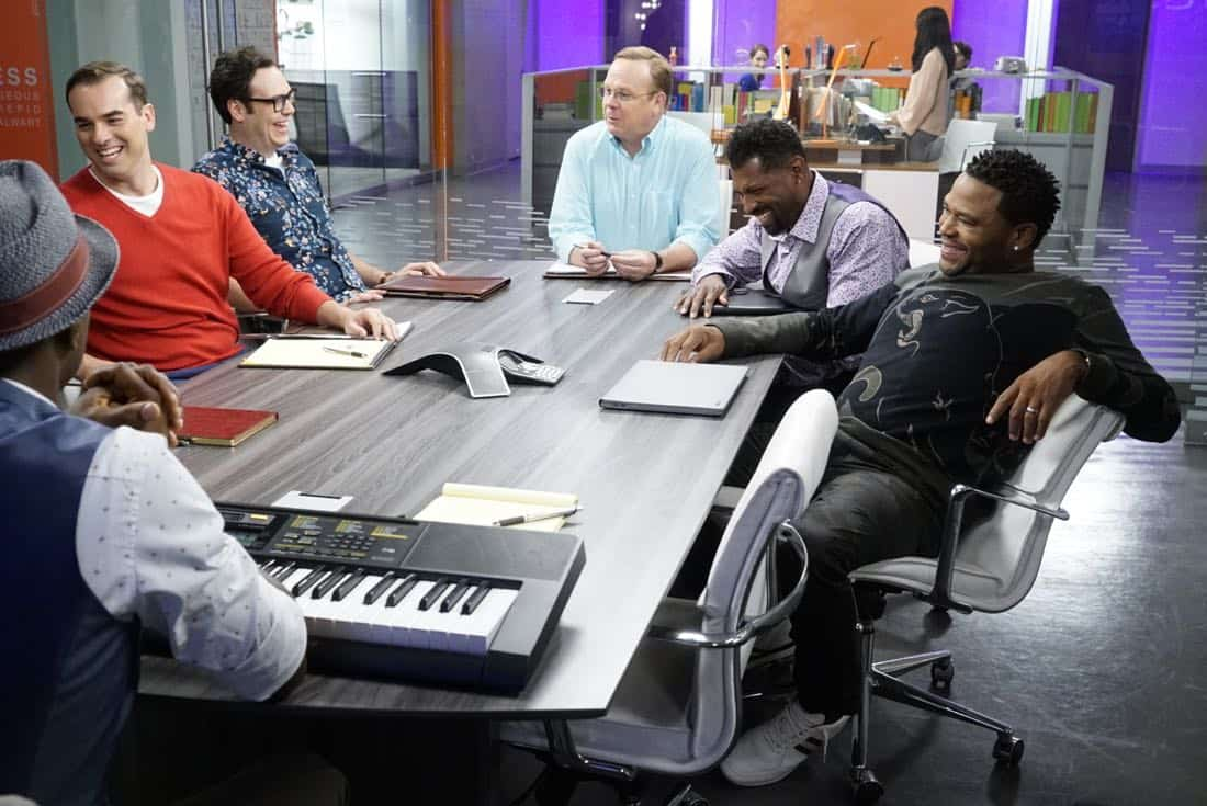 """BLACK-ISH - """"Juneteenth"""" - The Johnsons go to Jack and Diane's school play about Columbus Day, and Dre is dismayed by the historically inaccurate way that the holiday is portrayed. He feels like there aren't enough black holidays, so he enlists Aloe Blacc at work to help him create a catchy song to raise awareness for a holiday worth celebrating, Juneteenth, on the season premiere of """"black-ish,"""" TUESDAY, OCTOBER 3 (9:00-9:30 p.m. EDT), on The ABC Television Network. (ABC/Kelsey McNeal) JEFF MEACHAM, NELSON FRANKLIN, PETER MACKENZIE, DEON COLE, ANTHONY ANDERSON"""