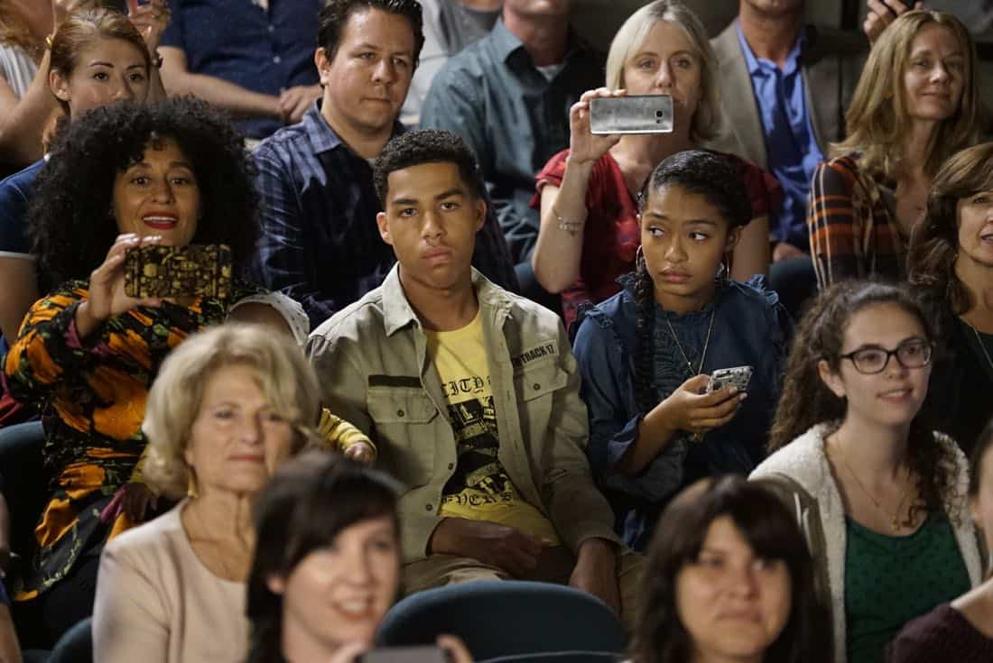 """BLACK-ISH - """"Juneteenth"""" - The Johnsons go to Jack and Diane's school play about Columbus Day, and Dre is dismayed by the historically inaccurate way that the holiday is portrayed. He feels like there aren't enough black holidays, so he enlists Aloe Blacc at work to help him create a catchy song to raise awareness for a holiday worth celebrating, Juneteenth, on the season premiere of """"black-ish,"""" TUESDAY, OCTOBER 3 (9:00-9:30 p.m. EDT), on The ABC Television Network. (ABC/Kelsey McNeal) TRACEE ELLIS ROSS, MARCUS SCRIBNER, YARA SHAHIDI"""