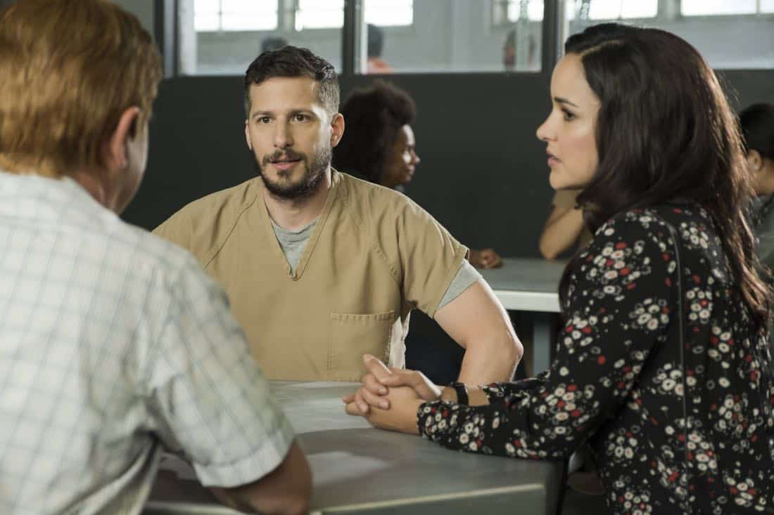 "BROOKLYN NINE-NINE: L-R: Andy Samberg and Melissa Fumero in the ""The Big House Pt.1"" Season Five premiere episode of BROOKLYN NINE-NINE airing Tuesday, Sept. 26 (9:30-10:00 PM ET/PT) on FOX.  CR: John P Fleenor / FOX"