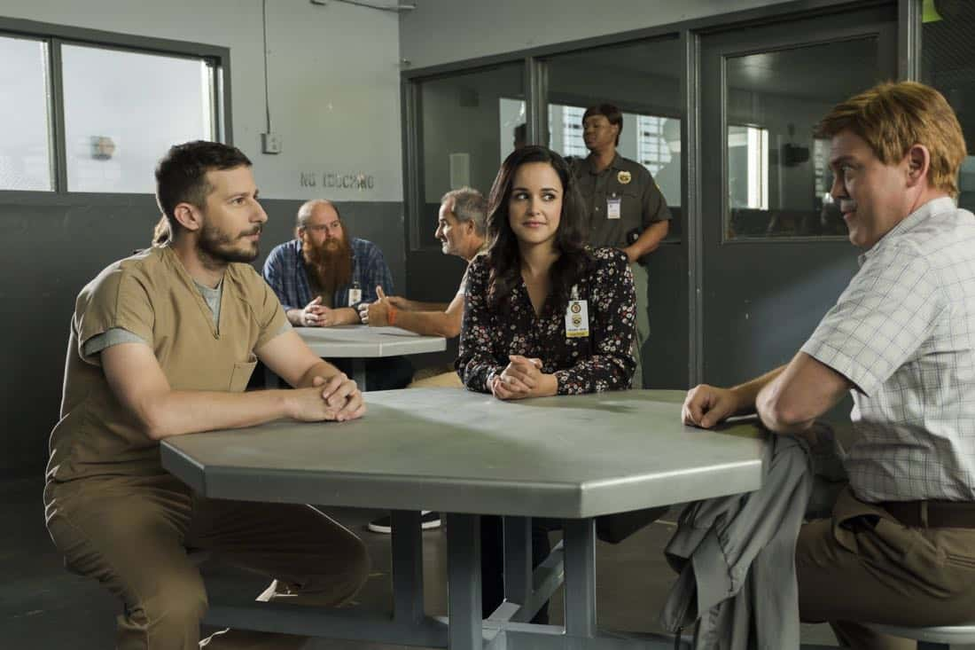 "BROOKLYN NINE-NINE: L-R: Andy Samberg, Melissa Fumero and Joe Lo Truglio in the ""The Big House Pt.1"" Season Five premiere episode of BROOKLYN NINE-NINE airing Tuesday, Sept. 26 (9:30-10:00 PM ET/PT) on FOX.  CR: John P Fleenor / FOX"