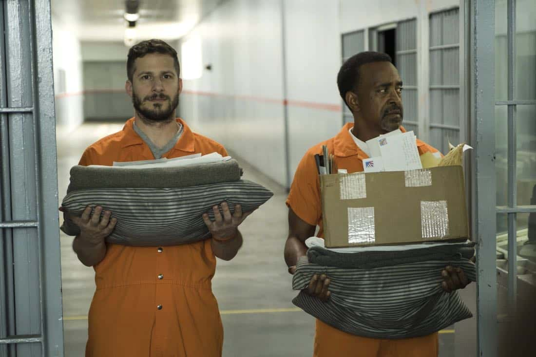 "BROOKLYN NINE-NINE: L-R: Andy Samberg and guest star Tim Meadows in the ""The Big House Pt.1"" Season Five premiere episode of BROOKLYN NINE-NINE airing Tuesday, Sept. 26 (9:30-10:00 PM ET/PT) on FOX.  CR: John P Fleenor / FOX"