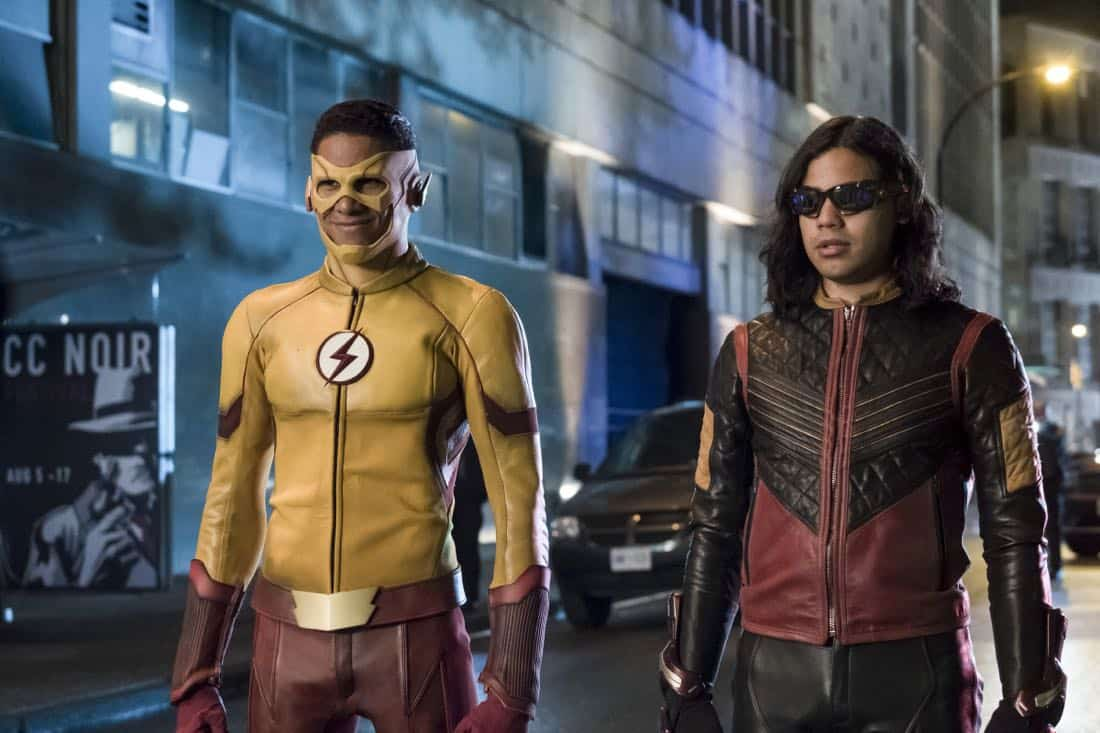 """The Flash -- """"The Flash Reborn"""" -- Image Number: FLA401a_0269b.jpg -- Pictured: Keiynan Lonsdale as Kid Flash and Carlos Valdes as Vibe -- Photo: Katie Yu/The CW -- © 2017 The CW Network, LLC. All rights reserved."""