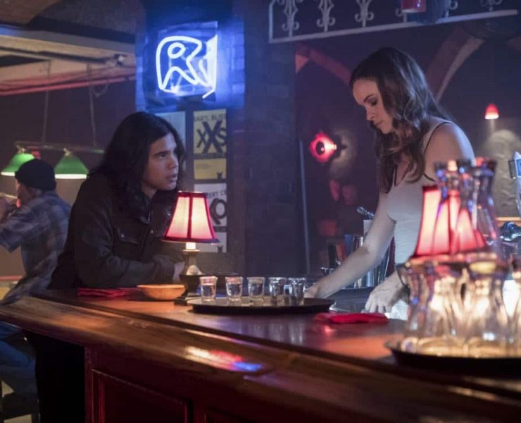 "The Flash -- ""The Flash Reborn"" -- Image Number: FLA401b_0184b.jpg -- Pictured (L-R): Carlos Valdes as Cisco Ramon and Danielle Panabaker as Caitlin Snow -- Photo: Katie Yu /The CW -- © 2017 The CW Network, LLC. All rights reserved."
