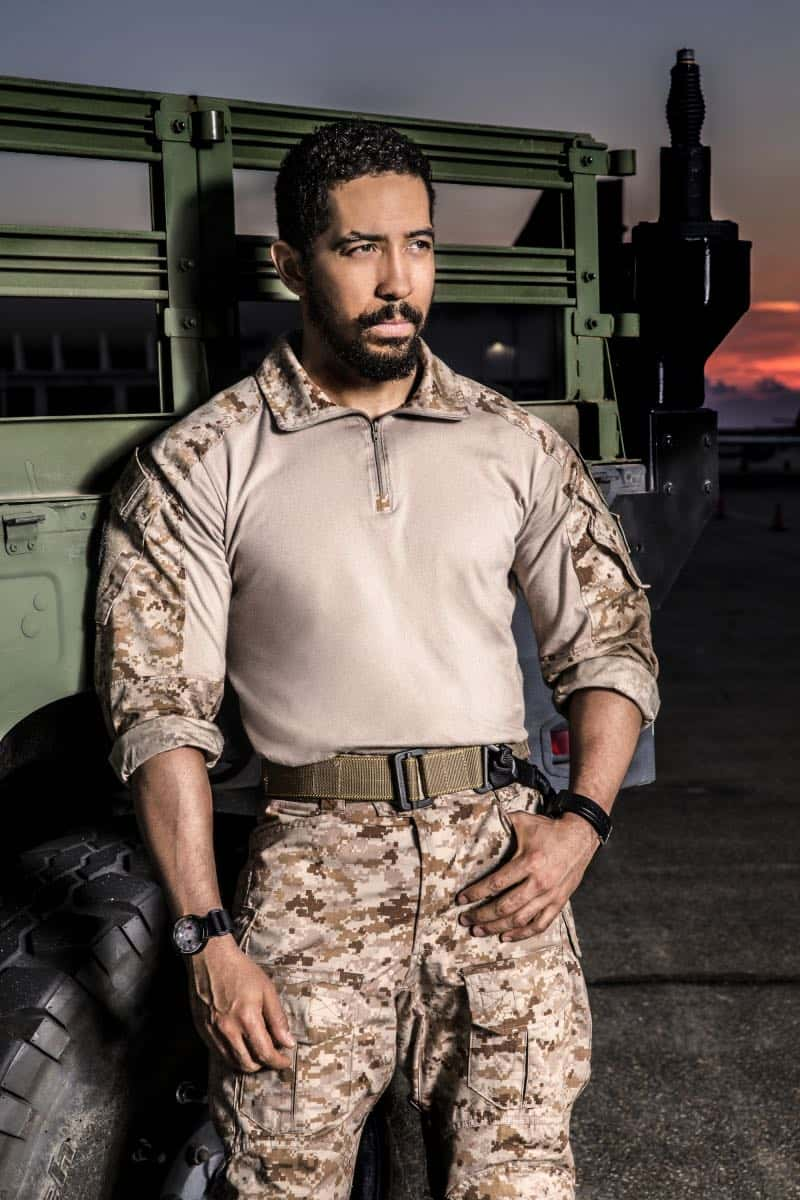 Neil Brown Jr. of the CBS series SEAL TEAM. Photo: Cliff Lipson/CBS ©2017 CBS Broadcasting, Inc. All Rights Reserved