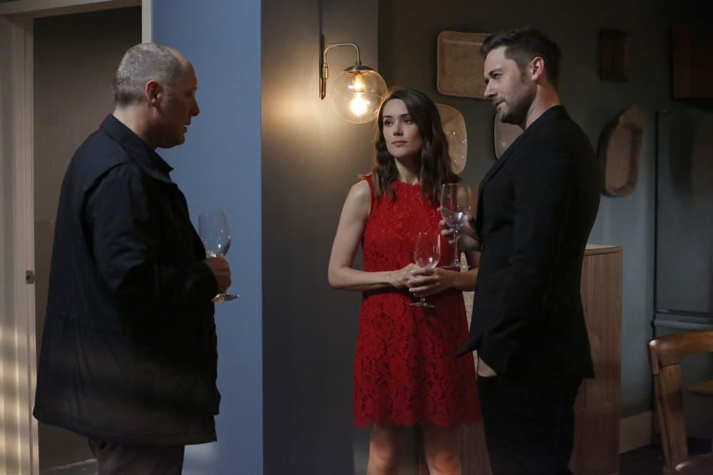 "THE BLACKLIST -- ""Greyson Blaise"" Episode 502 -- Pictured: (l-r) James Spader as Raymond ""Red"" Reddington, Megan Boone as Elizabeth Keen, Ryan Eggold as Tom Keen -- (Photo by: Will Hart/NBC)"