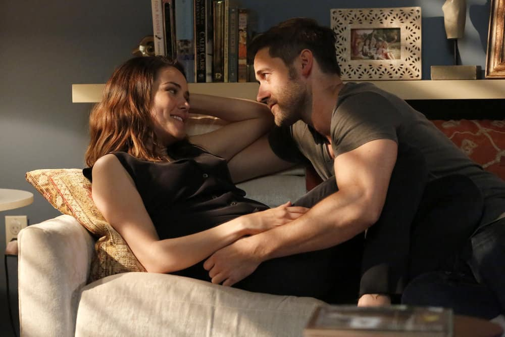 """THE BLACKLIST -- """"Greyson Blaise"""" Episode 502 -- Pictured: (l-r) Megan Boone as Elizabeth Keen, Ryan Eggold as Tom Keen -- (Photo by: Will Hart/NBC)"""