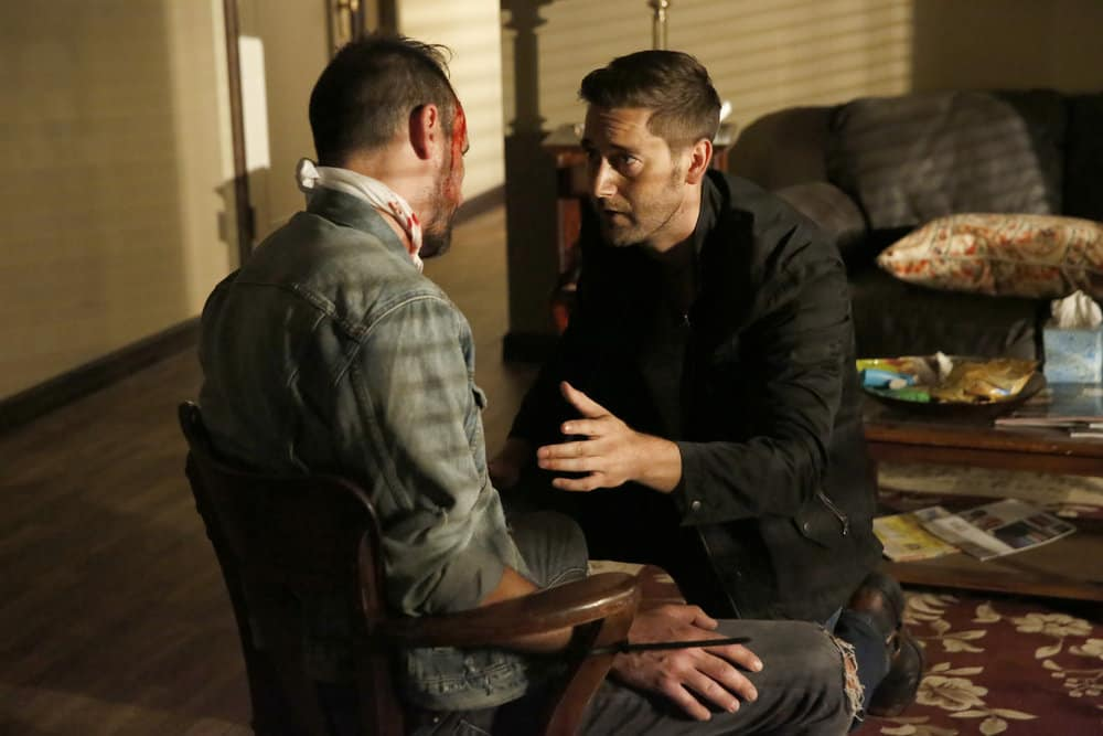 """THE BLACKLIST -- """"Greyson Blaise"""" Episode 502 -- Pictured: (l-r) Lawrence Jansen as Albert Dennison, Ryan Eggold as Tom Keen -- (Photo by: Will Hart/NBC)"""