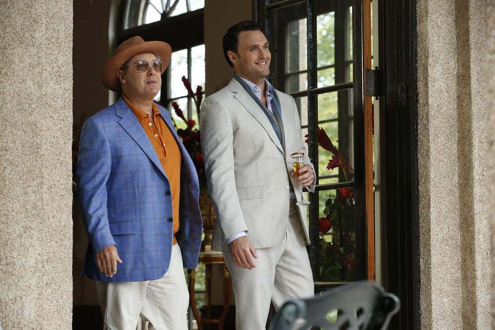 "THE BLACKLIST -- ""Greyson Blaise"" Episode 502 -- Pictured: (l-r) James Spader as Raymond ""Red"" Reddington, Owain Yeoman as Greyson Blaise -- (Photo by: Will Hart/NBC)"