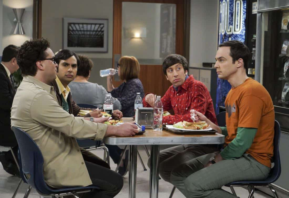 """""""The Retraction Reaction"""" - Pictured: Leonard Hofstadter (Johnny Galecki), Rajesh Koothrappali (Kunal Nayyar), Howard Wolowitz (Simon Helberg) and Sheldon Cooper (Jim Parsons). Leonard angers the university -- and the entire physics community -- after he gives an embarrassing interview. Also, Amy and Bernadette bond over having to hide their success from Sheldon and Howard, Monday, Oct. 2 (8:00-8:30 PM, ET/PT) on the CBS Television Network. Ira Flatow returns to guest star as himself, and Regina King returns as Mrs. Davis. Photo: Richard Cartwright/CBS ©2017 CBS Broadcasting, Inc. All Rights Reserved"""
