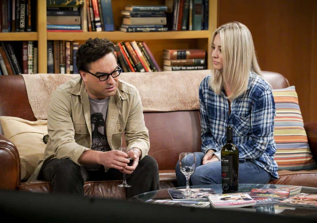 """""""The Retraction Reaction"""" - Pictured: Leonard Hofstadter (Johnny Galecki) and Penny (Kaley Cuoco). Leonard angers the university -- and the entire physics community -- after he gives an embarrassing interview. Also, Amy and Bernadette bond over having to hide their success from Sheldon and Howard, Monday, Oct. 2 (8:00-8:30 PM, ET/PT) on the CBS Television Network. Ira Flatow returns to guest star as himself, and Regina King returns as Mrs. Davis. Photo: Richard Cartwright/CBS ©2017 CBS Broadcasting, Inc. All Rights Reserved"""
