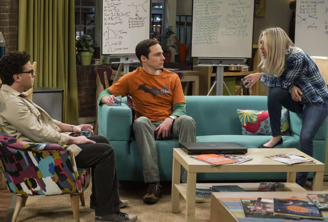 """""""The Retraction Reaction"""" - Pictured: Leonard Hofstadter (Johnny Galecki), Sheldon Cooper (Jim Parsons), and Penny (Kaley Cuoco). Leonard angers the university -- and the entire physics community -- after he gives an embarrassing interview. Also, Amy and Bernadette bond over having to hide their success from Sheldon and Howard, Monday, Oct. 2 (8:00-8:30 PM, ET/PT) on the CBS Television Network. Ira Flatow returns to guest star as himself, and Regina King returns as Mrs. Davis. Photo: Richard Cartwright/CBS ©2017 CBS Broadcasting, Inc. All Rights Reserved"""