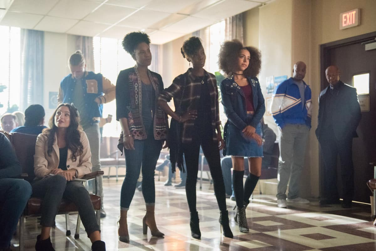 """Riverdale -- """"A Kiss Before Dying"""" Pictured (L-R): Asha Bromfield as Melody, Ashleigh Murray as Josie McCoy, and Hayley Law as Valerie"""