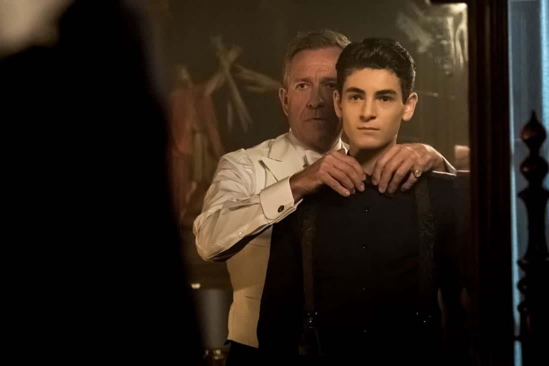 "GOTHAM: L-R: Sean Pertwee and David Mazouz in ""A Dark Knight: They Who Hide Behind Masks"""