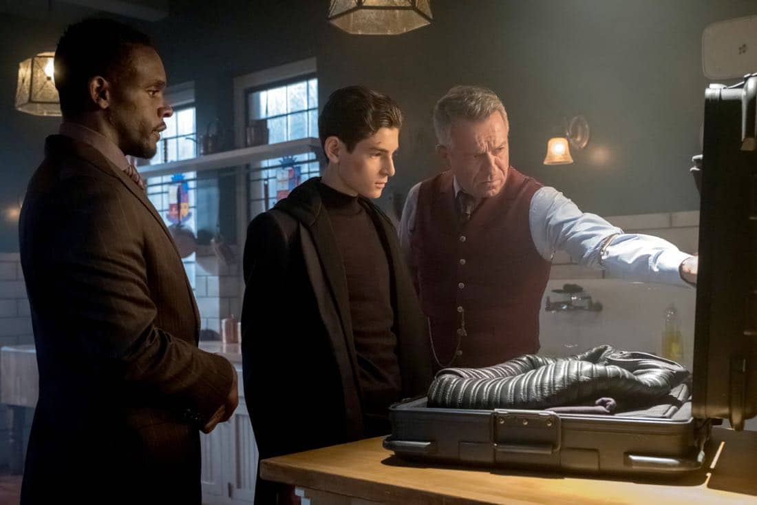 "GOTHAM: L-R: Chris Chalk, David Mazouz and Sean Pertwee in ""The Fear Reaper"""