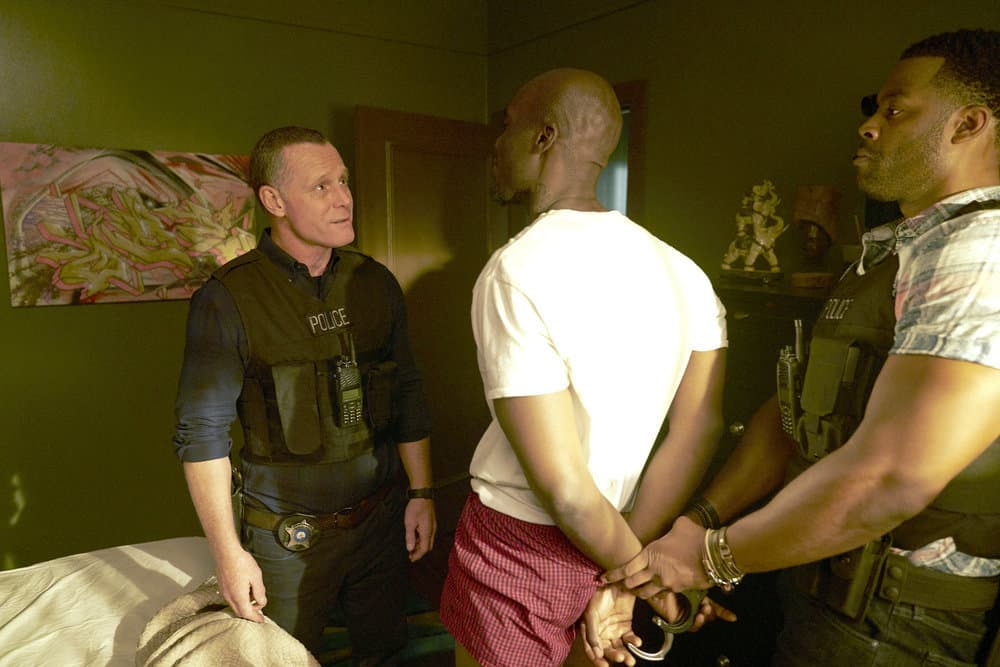 Chicago P.D. - Season 5 Pictured: (l-r) Jason Beghe as Hank Voight, Patrick Byas as Marcus Kelly, LaRoyce Hawkins as Kevin Atwater