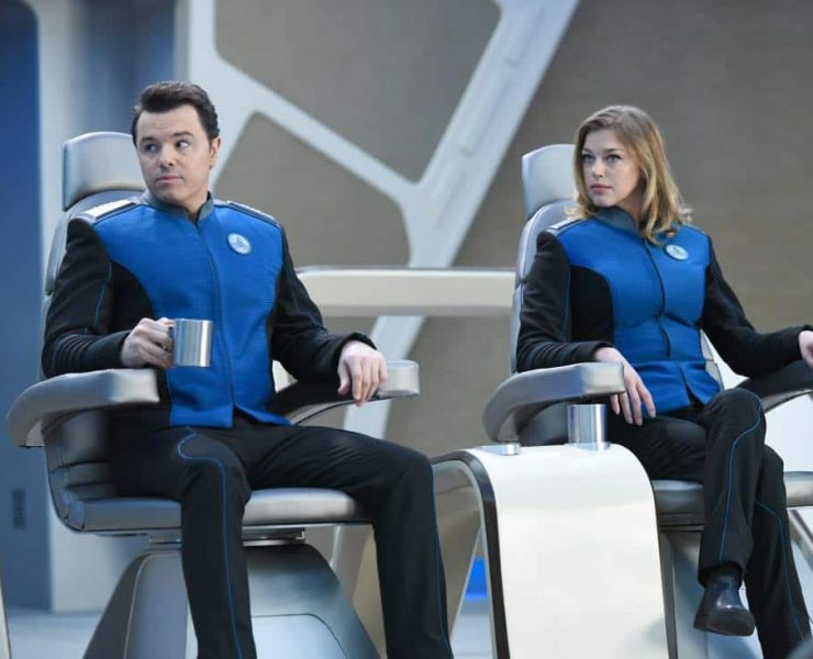 "THE ORVILLE: L-R: Seth MacFarlane and Adrianne Palicki in the ""If the Stars Should Appear"""