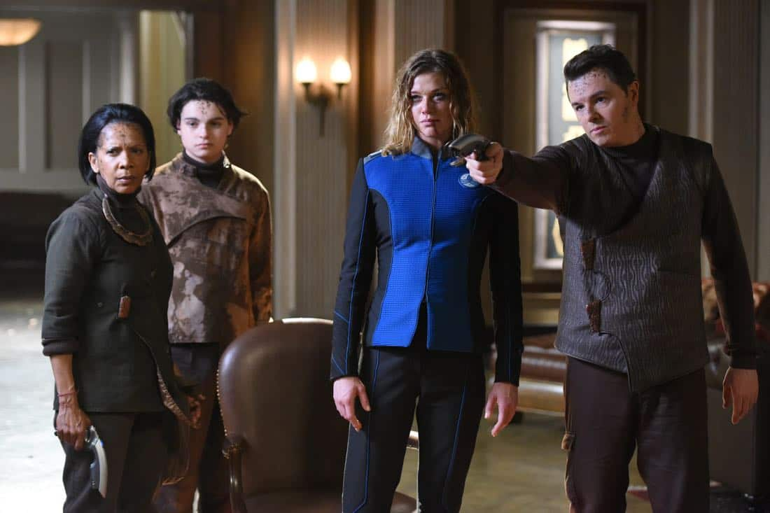 "THE ORVILLE: L-R: Penny Johnson Jerald, guest star Max Burkholder, Adrianne Palicki and Seth MacFarlane in the ""If the Stars Should Appear"""
