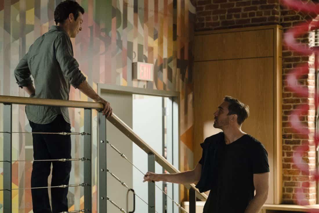 Scoot McNairy as Gordon Clark, Lee Pace as Joe MacMillan - Halt and Catch Fire _ Season 4, Episode 7