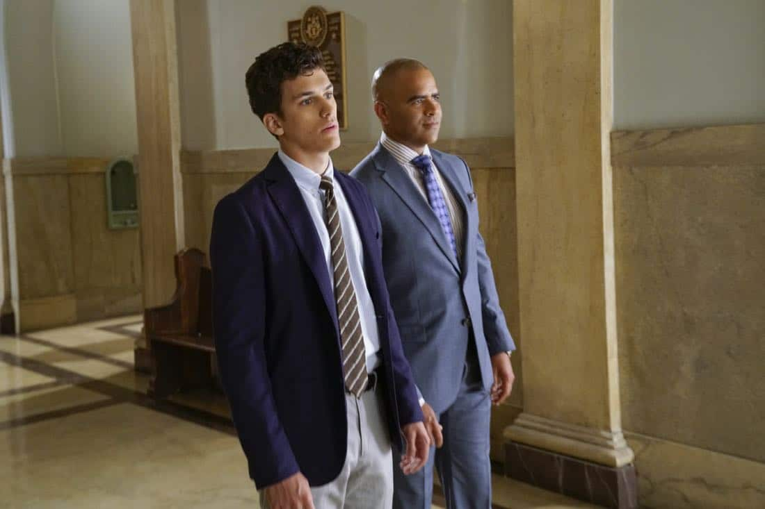 """""""Already Gone""""-- Bull impulsively agrees to have Benny represent Adam Harris (Sam Vartholomeos), a young man charged with murder for helping his terminally ill girlfriend end her life, a decision which clashes with Benny's religious beliefs, on BULL, Tuesday, Oct. 3 (9:00-10:00 PM, ET/PT) on the CBS Television Network. Pictured L-R: Sam Vartholomeos as Adam Harris and Chris Jackson as Chunk Palmer Photo: John Paul Filo/CBS ©2017 CBS Broadcasting, Inc. All Rights Reserved"""