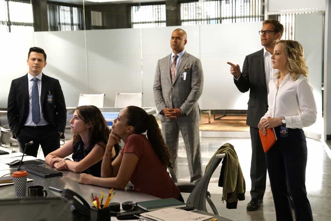 """""""Already Gone""""-- Bull impulsively agrees to have Benny represent Adam Harris (Sam Vartholomeos), a young man charged with murder for helping his terminally ill girlfriend end her life, a decision which clashes with Benny's religious beliefs, on BULL, Tuesday, Oct. 3 (9:00-10:00 PM, ET/PT) on the CBS Television Network. Pictured L-R: Freddy Rodriguez as Benny Colón, Annabelle Attanasio as Cable McCrory, Jaime Lee Kirchner as Danny James, Chris Jackson as Chunk Palmer, Michael Weatherly as Dr. Jason Bull, and Geneva Carr as Marissa Morgan Photo: John Paul Filo/CBS ©2017 CBS Broadcasting, Inc. All Rights Reserved"""
