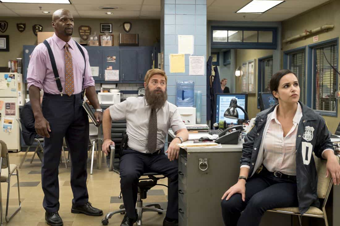 "BROOKLYN NINE-NINE: L-R: Terry Crews, Jo Lo Truglio and Melissa Fumero in the ""The Big House Pt.2"""