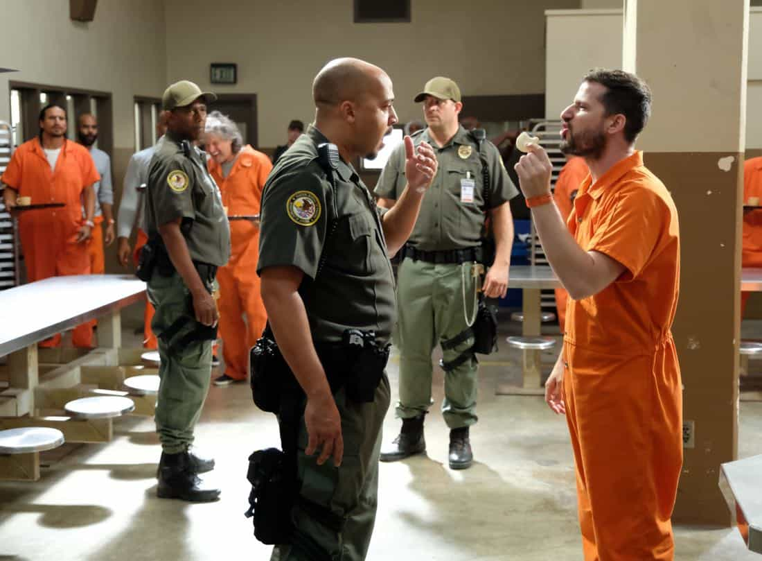 "BROOKLYN NINE-NINE: L-R: Guest star David Haley and Andy Samberg in the ""The Big House Pt.2"""