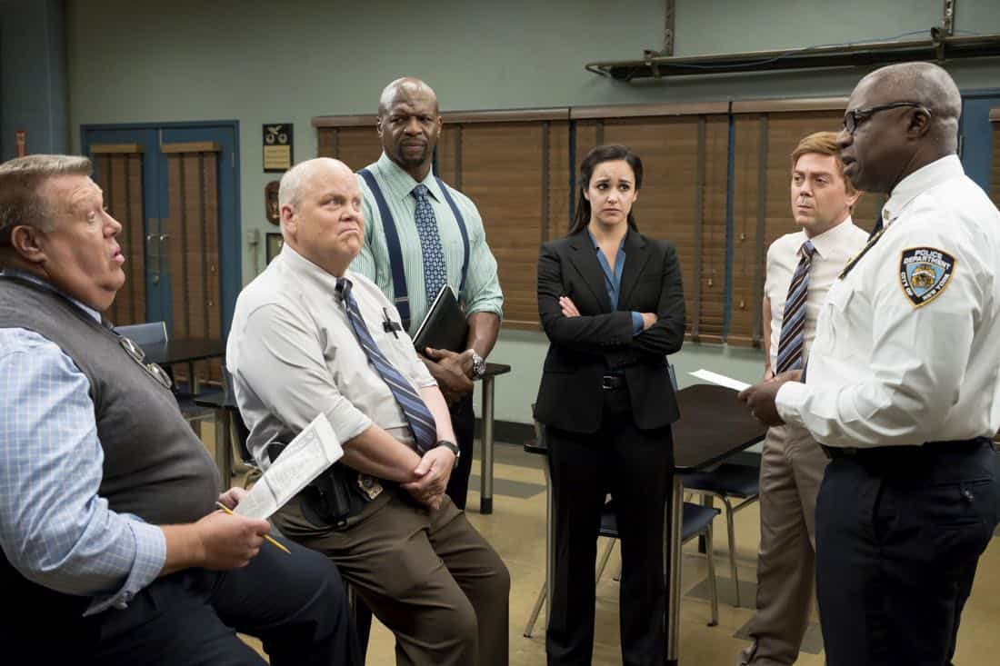 "BROOKLYN NINE-NINE: L-R: Joel McKinnon Miller, Dirk Blocker, Terry Crews, Melissa Fumero, Joe Lo Truglio and Andre Braugher in the ""The Big House Pt.2"""