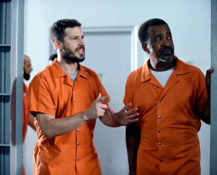 """BROOKLYN NINE-NINE: L-R: Andy Samberg and guest star Tim Meadows in the """"The Big House Pt.2"""""""